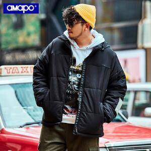 【限时抢购到手价:205元】AMAPO潮牌大码男装加肥加大码潮流印花宽松保暖棉服嘻哈肥佬外套