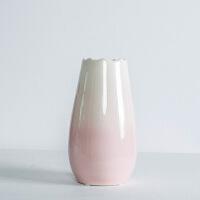 渐变陶瓷干花瓶摆件客厅餐桌电视柜北欧插花现代简约家居软装饰品 渐变 粉红 花瓶(单瓶)