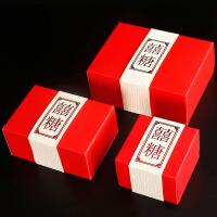 创意中国风结婚喜糖盒子中式婚礼糖果回礼盒烫金封条婚庆大号包装纸盒 红色