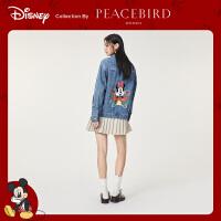 【迪士尼米奇联名】太平鸟牛仔衣女2020春季新款印花宽松牛仔外套
