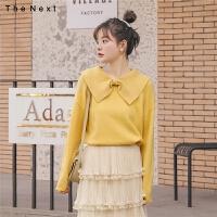 【8月2日品牌1折到手价:76元】娃娃领长袖针织衫2020年冬季新款女装韩版宽松复古学院风百搭上衣