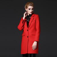 冬季新品装女士外套显瘦直筒红色欧美毛呢大衣女中长款