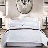 家纺床品纯棉镂空80支贡缎大提花长绒棉白色四件套 白色