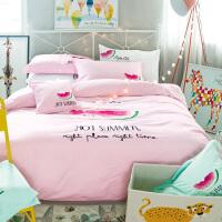 棉刺绣花四件套1.8m棉卡通被套儿童床上用品三件套1.2m男女生
