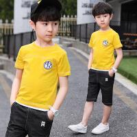 男童套装夏装新款童装儿童两件套休闲中大童纯色圆领T恤短裤