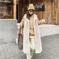 七格格皮草外套女2019新款冬季皮毛一体中长款修身羊剪绒白色马甲