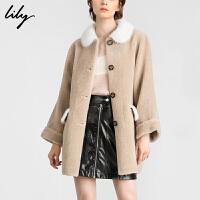 【不打烊价:1598元】 Lily2019冬新款拼接宽松中长款皮毛一体绵羊毛外套皮草大衣1E12