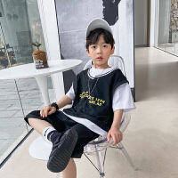 【2件2折】左西男童套装夏装2021新款儿童中大童透气运动篮球服两件套夏季短袖潮