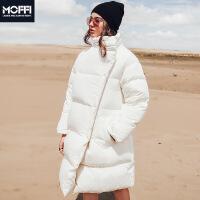 外套冬季欧美新品长款宽松加厚保暖白色立领女式羽绒服 白色