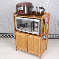 20180817190242870楠竹微波炉架厨房置物架烤箱架电器层架带门储物柜收纳实木架