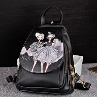 双肩包女韩版印花小背包潮百搭皮包学院风两用女士旅行包休闲书包