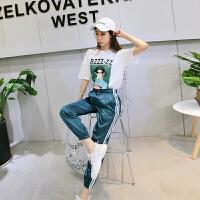 休闲套装女夏季新款时尚印花短袖T恤+松紧腰条纹束腿九分裤两件套 图片色
