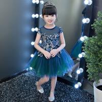 女童表演礼服裙走秀小主持人晚礼服 儿童礼服公主裙蓬蓬裙花童礼服 深 蓝色