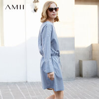 Amii极简chic小香风2018夏款韩版一字肩连衣裙宽松大码长袖条纹女.
