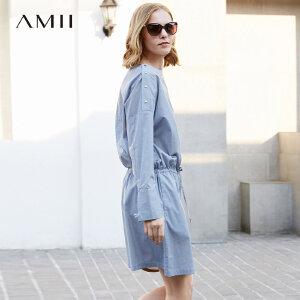 Amii极简chic小香风2018夏款韩版一字肩连衣裙宽松大码长袖条纹女