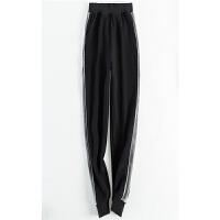 运动裤冬季女加绒秋冬款宽松学生休闲加厚韩版裤子新款 黑色