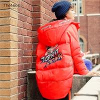 羽绒服女中长款韩国2019秋冬新款韩版宽松女士红色学生茧型加厚潮
