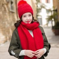 兔毛帽子女冬天韩版学生加绒加厚毛线帽针织保暖护耳帽子围巾套装
