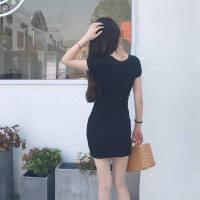 新款连衣裙女春秋装裙子学生针织打底短裙短袖性感V领