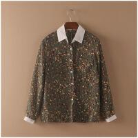 夏季韩版百搭薄款透气长袖POLO领雪纺衫女上衣 24092