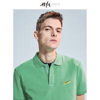 HLA JEANS撞色刺绣短袖t恤2018夏季新品男装舒适运动风POLO衫男