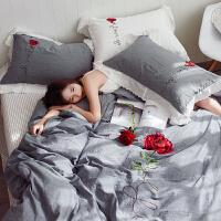 家纺刺绣全棉水洗棉床上四件套纯棉 公主风简约床单床笠纯色床品套件 初恋-灰