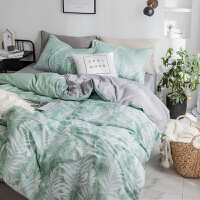 家纺全棉1.5m床单被罩被套床笠四件套纯棉北欧式简约1.8m双人床上用品