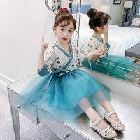 女童春秋新款改良汉服两件套连衣裙儿童长袖洋气公主蓬蓬纱裙