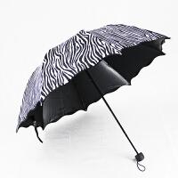 遮阳伞折叠三折拱形公主伞黑胶防晒防紫外线晴雨太阳伞斑马纹伞女