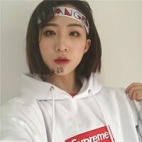 发带女韩国头饰品日系原宿个性运动头带潮男跑步健身头套头巾 白色 LOVERS2.5cm宽