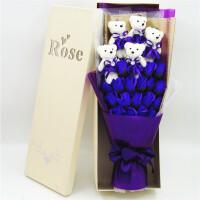 卡通花束礼盒娃娃玩偶小熊香皂玫瑰花束老婆女友生日创意礼物 11粉冰熊 粉心白 镂空盒