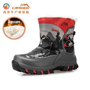 CAMKIDS秋冬男童棉靴儿童鞋中筒靴子男童靴中大童鞋雪地靴