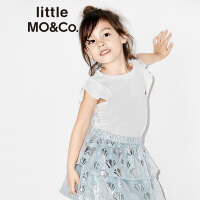 littlemoco纯色荷叶边袖口刺绣卡通贴布短袖T恤KA172TEE211