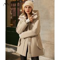 Amii黑科技热反射白鸭绒派克羽绒服2020新款连帽冬季中长款外套女