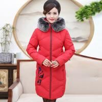 中老年中长款棉衣35-45岁加厚冬季新款印花气质中年妈妈羽绒