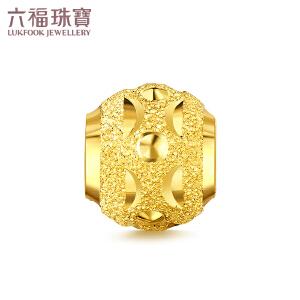 六福珠宝足金月牙间珠路路通转运珠黄金串珠吊坠   B01TBGP0011