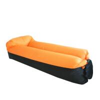 户外懒人空气沙发床 便捷式折叠枕头充气床沙滩睡袋休闲午休床垫 黑加桔色 枕头款