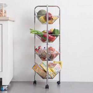 【年货节】欧润哲 创意宿舍金属四层整理收纳架 厨房卫生间可移动置物架带轮落地层架