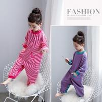 女童家居服 儿童连体睡衣条纹棉质睡袋小孩防踢被睡衣