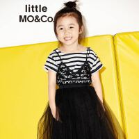 littlemoco纯棉字母刺绣条纹一字领套头短袖T恤KA171TEE206