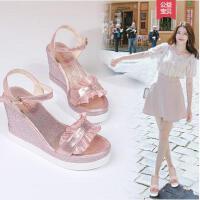 坡跟凉鞋女时尚新款百搭仙女风网红同款一字带罗马风厚底鞋高跟女鞋