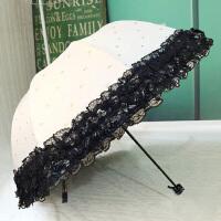太阳伞蕾丝雨伞女防晒防紫外线小清新黑胶韩国遮阳伞折叠晴雨两用 米白 3层蕾丝边