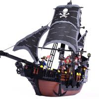 海盗船拼装玩具模型7男孩子8儿童拼插10岁积木6黑珍珠号