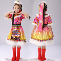 万圣节儿童服装少数民族演出服表演服藏族藏服舞蹈水袖蒙古服