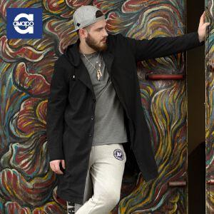 【限时抢购到手价:169元】AMAPO潮牌大码男装 男士肥佬胖子加大码纯色连帽风衣秋装外套薄款
