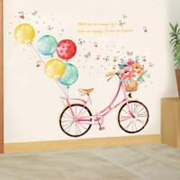 田园客厅卧室走廊楼道墙面装饰墙贴纸文艺自行车墙壁自粘墙纸贴画 单车 特大