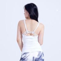 美背带胸垫瑜伽背心长款锦氨瑜伽服上装夏季透气速干弹力运动背心