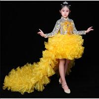 女童公主裙蓬蓬裙走秀拖尾袖秋季儿童礼服裙模特演出服女孩表演服 加拖尾