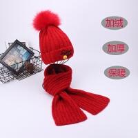 韩版儿童帽子围巾套装秋冬女童加绒毛线帽中大童围脖男女宝宝冬天