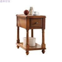 美式实木家具边几角几花架沙发小茶几欧式边柜电话几床头柜储物桌